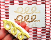 sewing thread hand carved rubber stamp. rope pattern stamp. gift wrapping. beach wedding scrapbooking. marine nautical craft projects