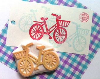 bicycle hand carved rubber stamp. vintage bike stamp. cycling lovers. gift wrapping. card making. scrapbooking. birthday christmas crafts