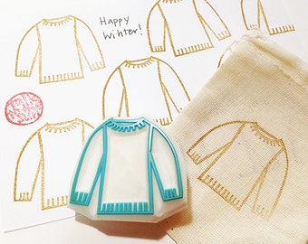 knitted sweater stamp. knitting hand carved rubber stamp for knitters. craft scrapbooking. holiday gift wrapping. style no1. by talktothesun