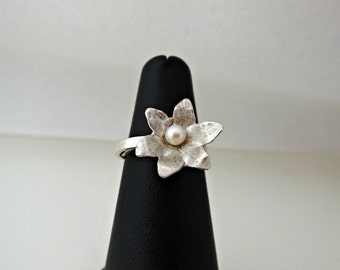 Silver Ring Adjustable Sakura with Pearl Center - Sterling Silver