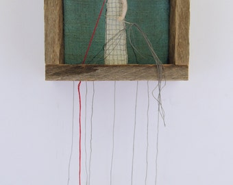 hand embroidery diorama-textile art fiber art  putting down roots planting my heart