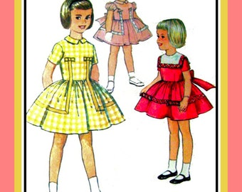 Vintage 1960s- Adorable Toddler Girls Dress-Sewing Pattern-Three Styles -Unique Trim Design Detail-Square Collar- Full Skirt- Size 2- Rare