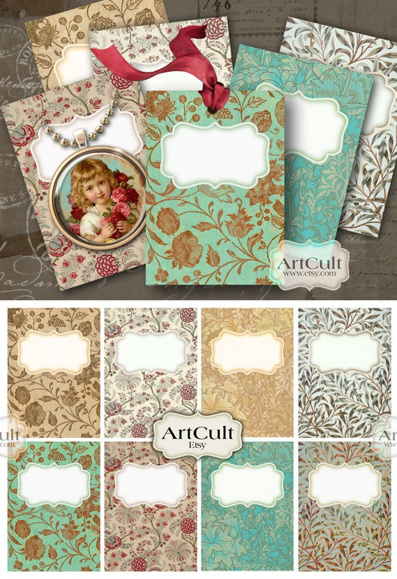 TAG LABELS - Digital Collage Sheet Jewelry Holders 2.5x3.5 inch size Gift Tags Printable Downloads Vintage lalbels Paper Journaling Art Cult