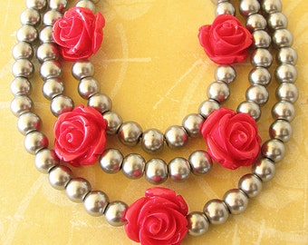 Statement Necklace, Bib Necklace Grey Necklace, Holiday Gift Bridesmaid Jewelry, Flower Necklace, Rose Jewelry