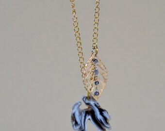 Geode Agate Slice Necklace. SALE. Gold Leaf Pendant. Gray Geode Agate Gemstone Pendant. Gold Plated. Gift For Her.