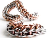 Full Persian Chainmaille Bracelet - Stainless Steel & Copper