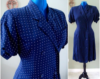 Vintage Polka Dot Dress, Navy Blue Dress White Polka Dots, Midi Polka Dot Dress, Rockabilly Style, 80s 90s Marshall Fields