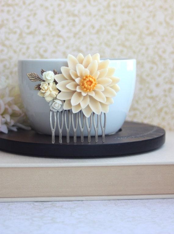 Large Ivory Chrysanthemum Flower, Brass Leaf Collage Hair Wedding Statement Comb. Bridesmaids Gift,  Ivory Wedding.  Woodland Country.