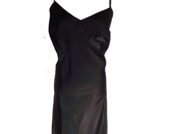 50s Slip Vintage Barbizon Slip Black Satin Sylfaire Sz 40