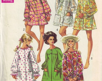 Beach Coverup and Front Button Short Robe Simplicity 8276 Vintage 1960s Sewing Pattern Size S 8 10 Bust 31.5 32.5