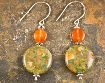 Handcrafted Jasper, Carnelian, and Sterling Silver Earrings (E242)