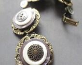 Button Bracelet Bronze Off White Silver Shell Metal