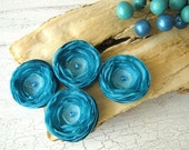 Tiny and Thick- Fabric flower appliques- handmade voile satin fabric sew on flower appliques, wedding supplies (4pcs)-  TURQUOISE BLOSSOMS