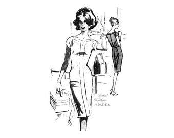 Vintage Spadea Pattern 1317 1960s Sheath Dress, Bateau Neckline, Cap Sleeves, Bust 34 Tailored Dress Sewing Pattern Herbert Sondheim