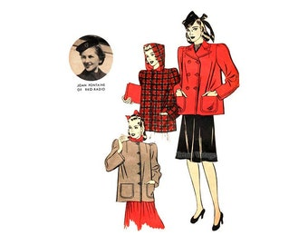 Vintage 1930s Coat Pattern Joan Fontaine Hollywood 1923, Short Box Jacket Double or Single Breasted, Hooded Coat with Pockets
