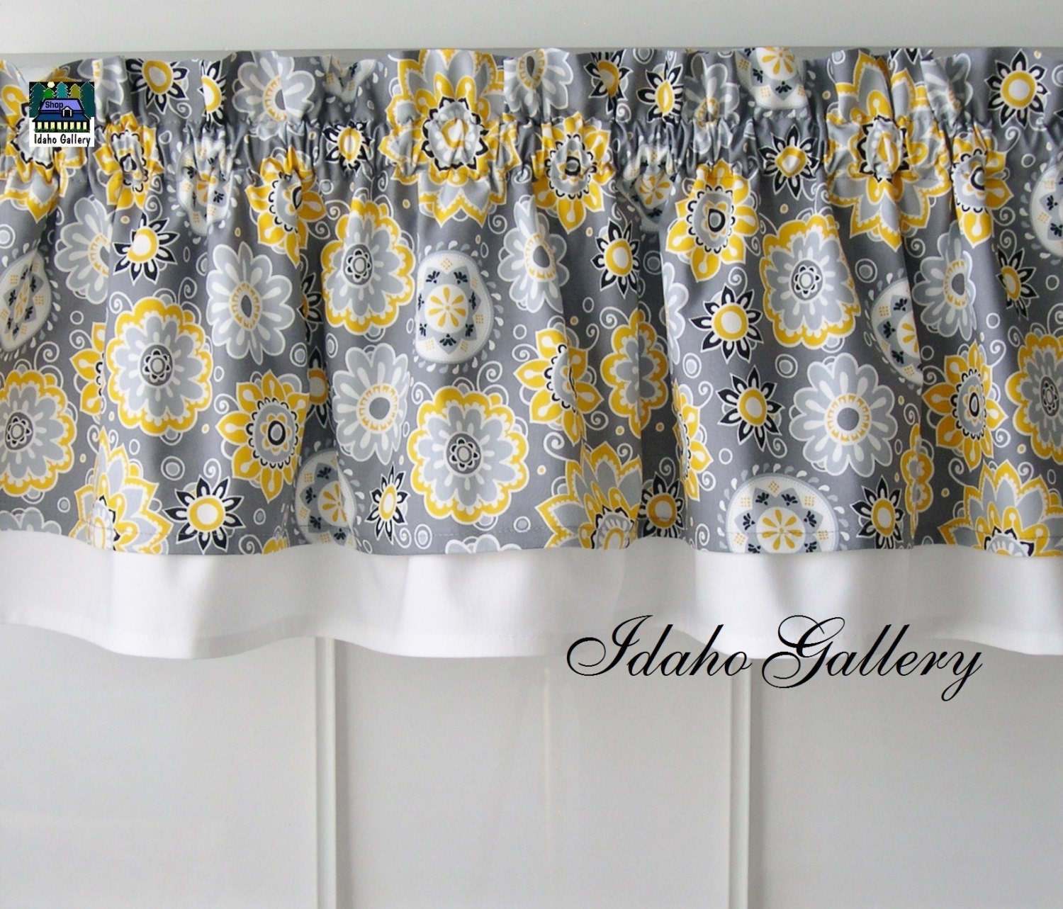 Yellow Gray And White Curtains: Gray Yellow White And Black Double Layer Little By