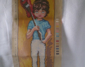 Reduced Price SALE Vintage Gobelin Big Eyed Boy Embroidery Corss stich needlepoint canvas Pattern