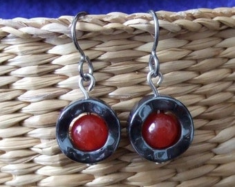 Berry Red Jade Center Wavy Hematite Circle Dangle Earrings EaringsTitanium Ear Wires Hypo Allergenic Shiny