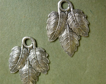 Antiqued Silver Metal Leaf Stampings (4)