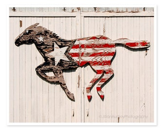 American Flag, Flag Decor, Horse Decor, Barn Horse Photography, Farmhouse, Rustic Barn Photograph, Patriotic, red white and blue, cottage