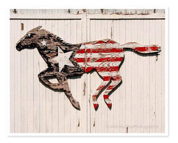 american flag flag decor horse decor barn horse photography farmhouse rustic - Horse Decor