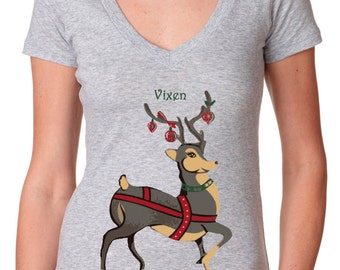 Christmas shirts - Christmas tshirts - Christmas t shirt - Christmas gifts for her - womens tshirts - holiday shirts - VIXEN - deep v neck