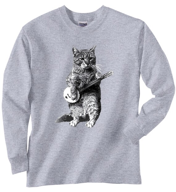 Boys 39 Girls 39 Cat Shirt Vintage Design Banjo By