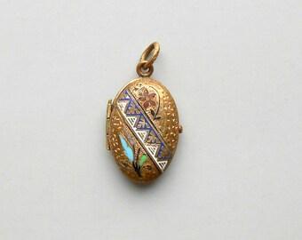 Antique Victorian Enamel Locket. Six Color taille d'epargné.
