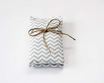 Lavender Sachets with Mint, Fresh Organic Fragrance for Home, Modern Grey Geometric Zigzag Chevron