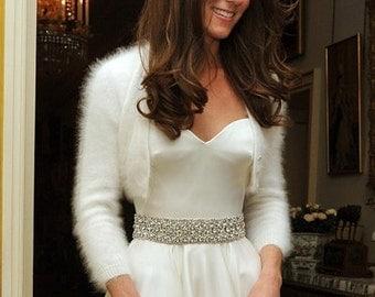 Angora Rabbit Handmade Kate Middleton Wedding Bridal Shrug/Bolero v-neck No buttons three-quarter sleeve cropped//Ivory/Natural/Off white