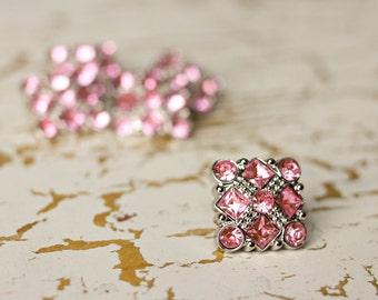 Plastic Rhinestone Buttons - 5 Light Pink Square Buttons - Diane Button - 25mm - Plastic Buttons - Acrylic Buttons