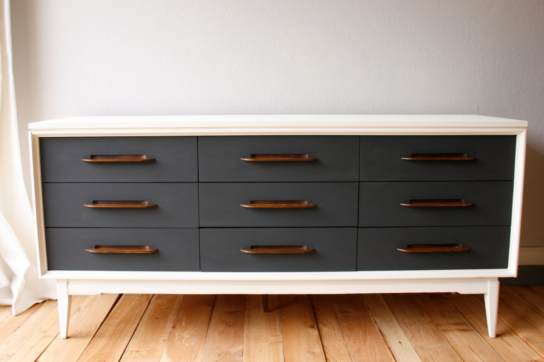 Painted Mid Century Modern Dresser Credenza