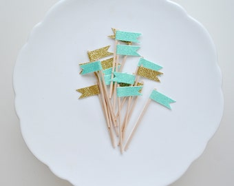 Oh, little darling topper series. Teal and gold glitter toppers.  Gift, cupcake and cake topper.