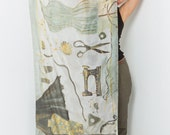 Hand Painted Silk Scarf-Dressmakers Atelier. Luxurious Scarf, shawl. Gray Taupe Silk Scarf. Unique handmade gifts woman/ Fashionista gift