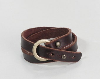 Brown Leather Wrap Bracelet Leather Cuff Leather Bracelet with Bronze Tone Ring