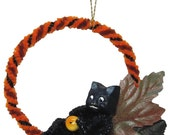 """Mixed Media Sculpture Ornament Inspired by Vintage Japanese and German Hallowe'en Chenille Ornaments - """"Black Cat's Lazy Autumn Days"""""""
