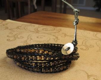 Tiger Eye Leather Wrap Bracelet