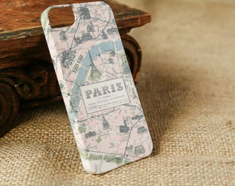 iPhone Case, Paris Map, iPhone 5S Case, Vintage Map iPhone 6, Galaxy ,   Case Travel iPhone 6S Plus Case