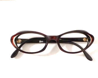 French Burgundy Cat Eye Glasses Never Used NOS Frame France Eyeglasses Vintage Women's Sunglasses Rockabilly Vixen Screen Star Starlet