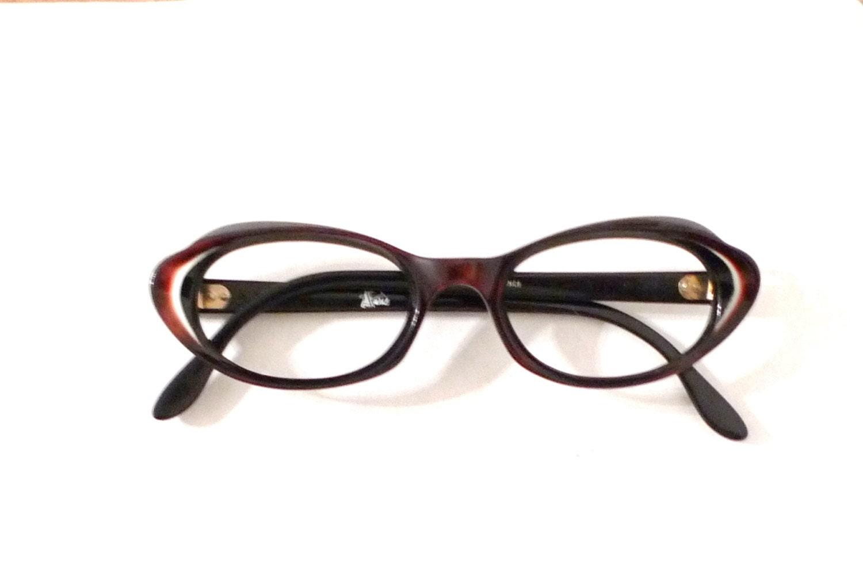 Glasses Frame In French : French Burgundy Cat Eye Glasses Never Used NOS Frame France