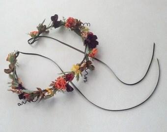 Woodland Hair Wreath hair flower crown Bridal headpiece -Lesley-Ready ship hairpiece red orange brown Wedding accessories floral halo