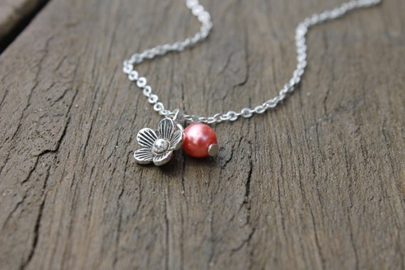 Sakura - Floral Cherry Blossom bead Charm Necklace Pendant