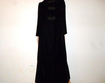 Antique 30's - 40's - Black - Velvet - Mandarin Collar - Princess Fit - Cord Embellished - Maxi Coat  (incredible condition, very wearable)