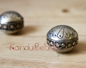Morocan Silver Prayer Bead, 20x25mm saucer shape handmade