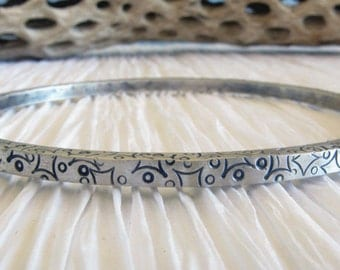 Bangle bracelet. Thick sterling silver with handstamped design.  Antique brushed finish.  Womens jewelry. Chunky bracelet for her.