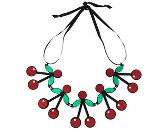 Red Acrylic Cherry Crush Necklace