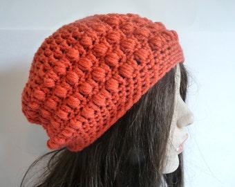 Crochet Slouchy Hat in Coral, Rasta, Tam, Beret, Beanie