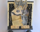 Batty Halloween Decoration, Altered Art Shadow Box with Bat Theme