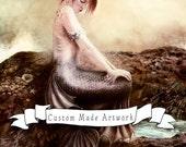 Custom MERMAID 50% Deposit, Your Portrait, As a Mermaid // Custom Made Fantasy Art Portrait