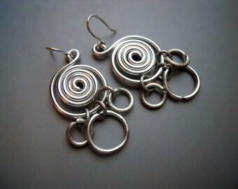Bold TRIBAL Gypsy Goddess Fusion Ring Spiral Dangle Earrings, Black Rebar Steel